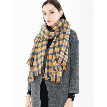 Winter Checked Pattern Fringed Shawl Scarf - GOLDEN BROWN