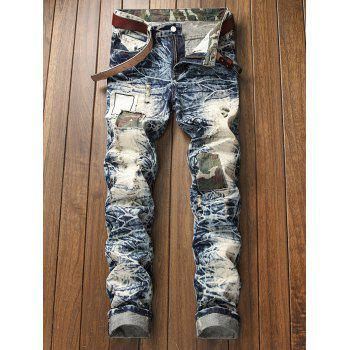 Camo Panel Faded Wash Distressed Jeans - BLUE GRAY 34