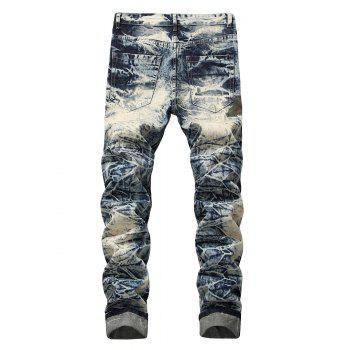 Camo Panel Faded Wash Distressed Jeans - BLUE GRAY 36