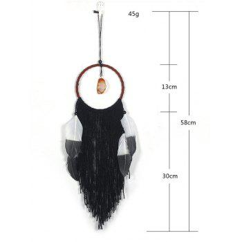 Faux Jade Handmade Fringed Dream Catcher - BLACK