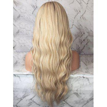 Long Ombre Natural Wavy Middle Part Synthetic Wig - multicolor