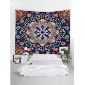Mandala Flowers Print Tapestry Wall Art Decor - multicolor W59 X L59 INCH