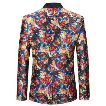 One Button Graffiti Flowers Pattern Blazer - multicolor L