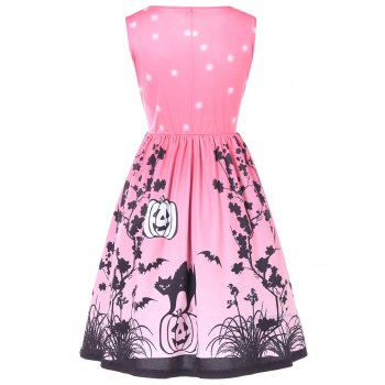 Halloween Retro Printed Pin Up Dress - LIGHT PINK L