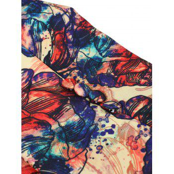 One Button Graffiti Flowers Pattern Blazer - multicolor XL
