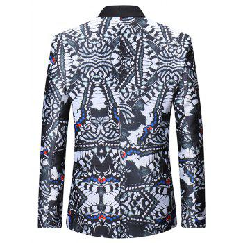 Flap Pocket Design Abstract Printing Pattern Blazer - multicolor M