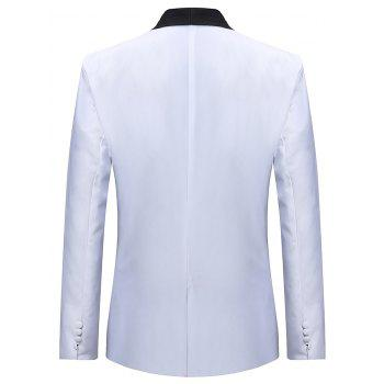 One Button Contract Color Blazer - WHITE M