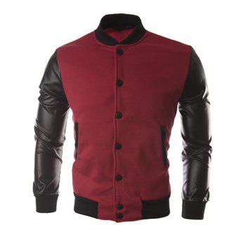 False Leather Sleeve Slash Pocket Jacket - RED WINE XL