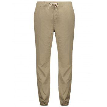 Stretchy Waist Solid Color Jogger Pants - CAMEL BROWN XS