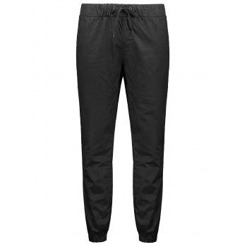 Stretchy Waist Solid Color Jogger Pants - BLACK XS