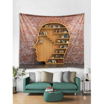 Bookrack Wall Brick Printed Tapestry Art Decor - multicolor W91 X L71 INCH