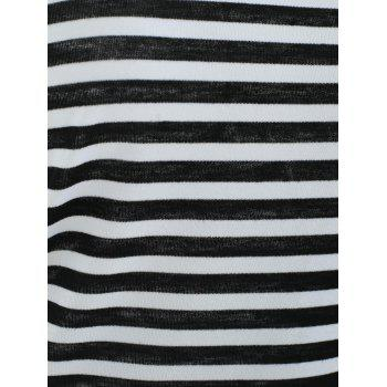 Off The Shoulder Striped Tee - BLACK XL