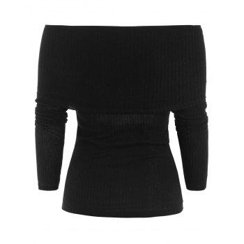Ribbed Pullover Knitwear - BLACK M