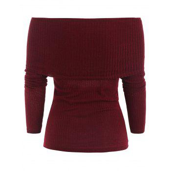 Ribbed Pullover Knitwear - RED WINE L