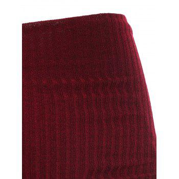 Ribbed Pullover Knitwear - RED WINE XL