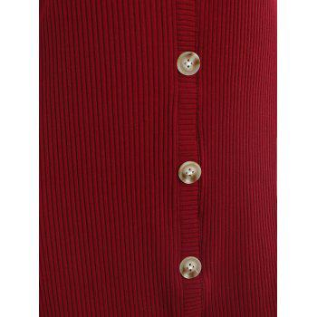 Ribbed Dress with Buttons - RED WINE M