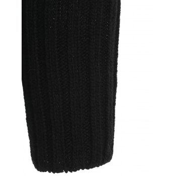 Hollow Batwing Sleeve Knitted Sweater - BLACK ONE SIZE