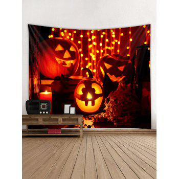 Halloween Pumpkin Candle Print Wall Tapestry Art Decoration - multicolor W59 X L59 INCH