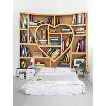 Heart Bookrack Printed Wall Tapestry Art Decor - multicolor W59 X L51 INCH