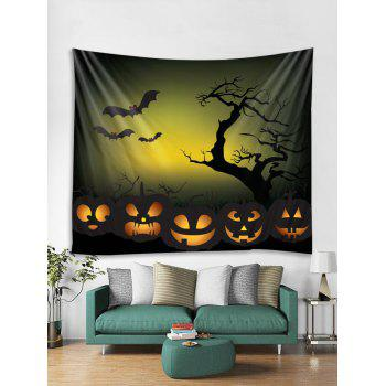 Halloween Bat Pumpkin Printed Wall Tapestry Art Decor - multicolor W79 X L59 INCH
