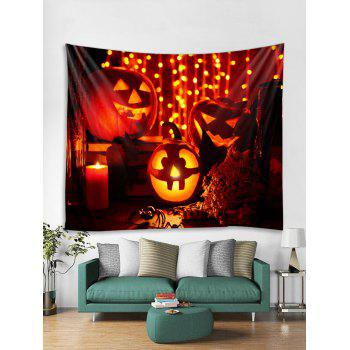 Halloween Pumpkin Candle Print Wall Tapestry Art Decoration - multicolor W91 X L71 INCH