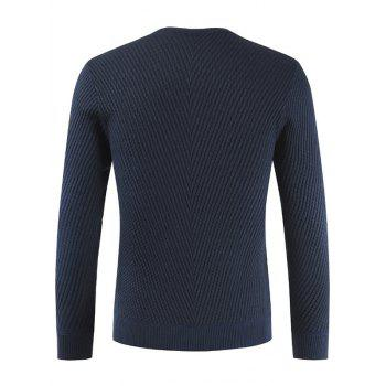 Buttons Decorated Casual Pullover Sweater - DARK SLATE BLUE L
