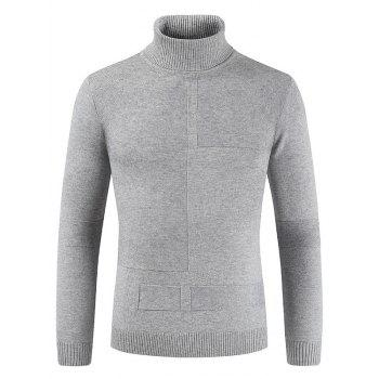 Turtle Collar Geometrical Pattern Sweater - LIGHT GRAY XL