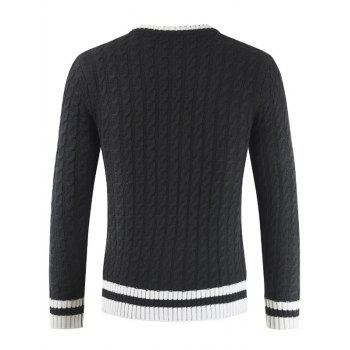 Round Neck Casual Ringer Sweater - BLACK XL