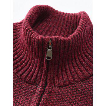 Bold Stripe Casual Faux Pockets Sweater - RED WINE M