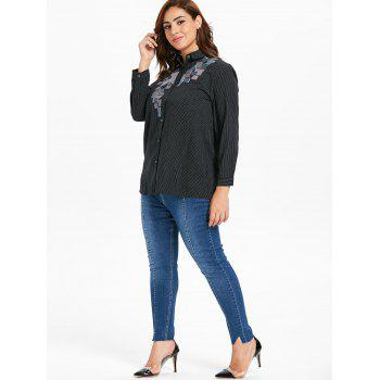 Plus Size Button Up Striped Blouse - BLACK L