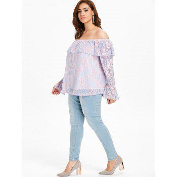 Flare Sleeve Plus Size Lace Blouse - MAUVE 4X