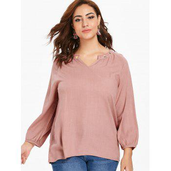 Plus Size Dip Hem Embroidered Blouse - PINK 1X