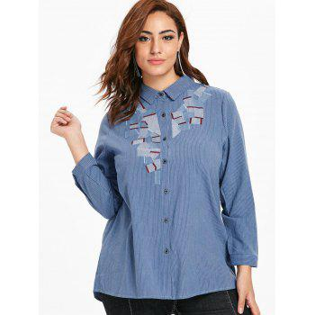 Plus Size Button Up Striped Blouse - SILK BLUE 1X
