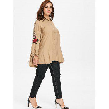 Plus Size Floral Embroidery Sleeve Button Up Shirt - BLANCHED ALMOND 3X