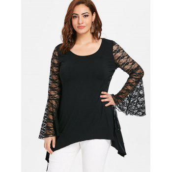 Halloween Plus Size Lace Up Flared Sleeve T-shirt - BLACK 5X