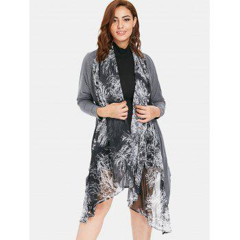 Collarless Plus Size Printed Asymmetrical Coat - GRAY ONE SIZE