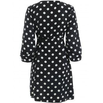 Mini Polka Dot Wrap Dress - BLACK L
