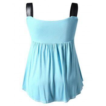 Plus Size Square Neck Curved Tank Top - BLUE HOSTA 5XL