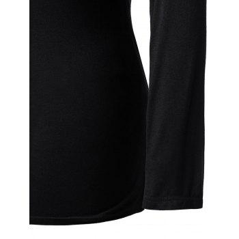 Plus Size Long Sleeve Spider Cut Out Tee - BLACK L