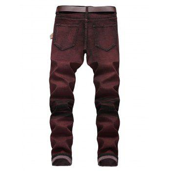 Color Wash Vintage Destroyed Jeans - BURGUNDY 38