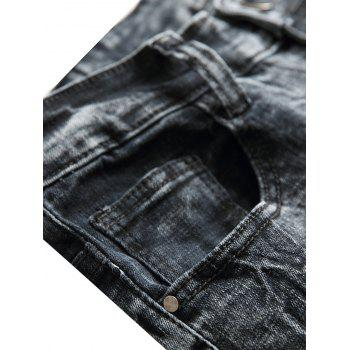 Distressed Faded Zipper Fly Jeans - GRAY 40