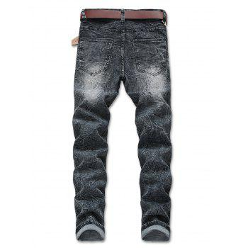 Distressed Faded Zipper Fly Jeans - GRAY 38