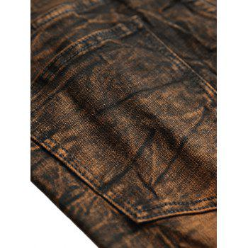 Distressed Faded Zipper Fly Jeans - BROWN BEAR 36