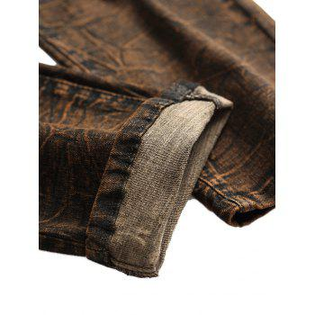 Distressed Faded Zipper Fly Jeans - BROWN BEAR 42