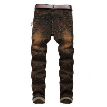 Distressed Faded Zipper Fly Jeans - BROWN BEAR 38