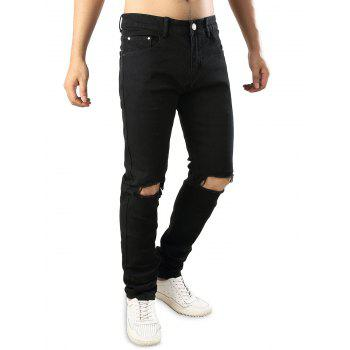 Stretchy Destructed Whickers Casual Ripped Jeans - BLACK 38
