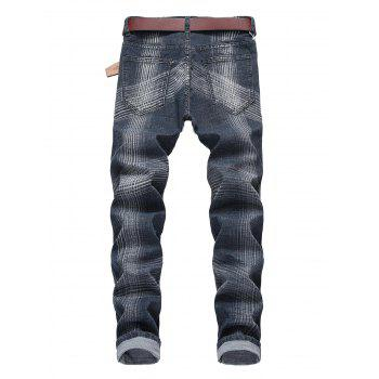 Line Print Straight Leg Jeans - GRAY CLOUD 36