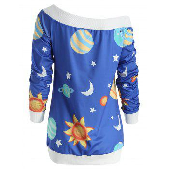 Sun and Moon Print Sweatshirt - OCEAN BLUE L