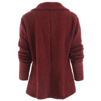 Buttons Fuzzy Coat - RED L