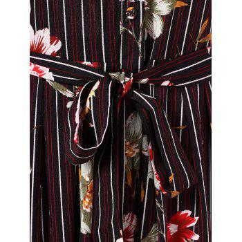 Floral Panel Stripe Print Midi Shirt Dress - BLACK M